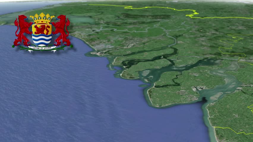 Zeeland whit Coat of arms animation map Provinces of the Netherlands