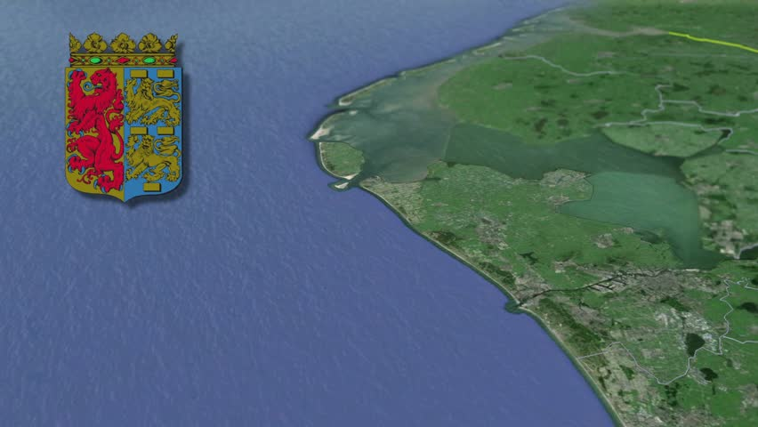 North Holland whit Coat of arms animation map Provinces of the Netherlands