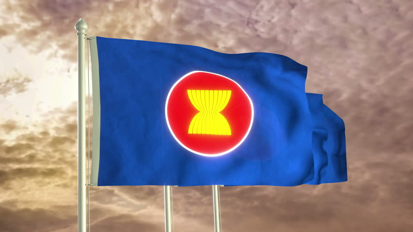 Three flags of Association of Southeast Asian Nations waving in the wind (4K high detailed 3D render) with a dramatic sky in the background