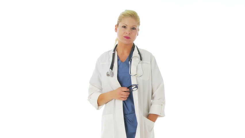 Portrait of female doctor - HD stock footage clip