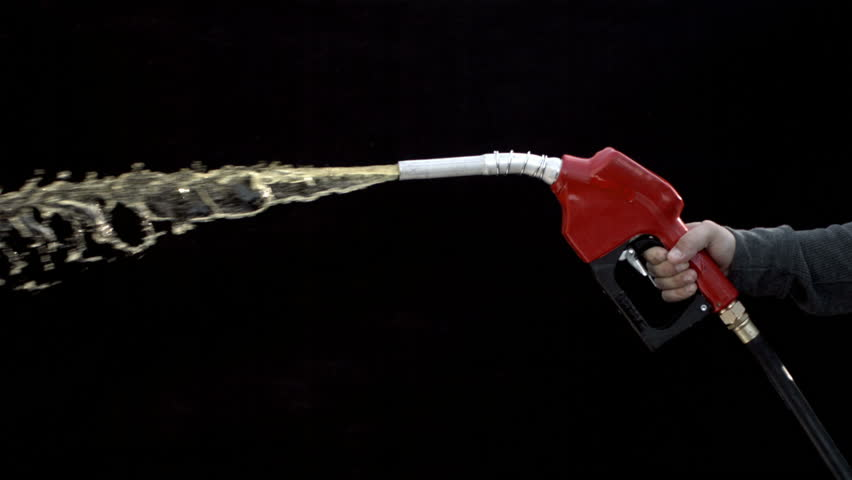 Cinemagraph - Gas nozzle spraying on black background, slow motion. Looping Motion Photo.