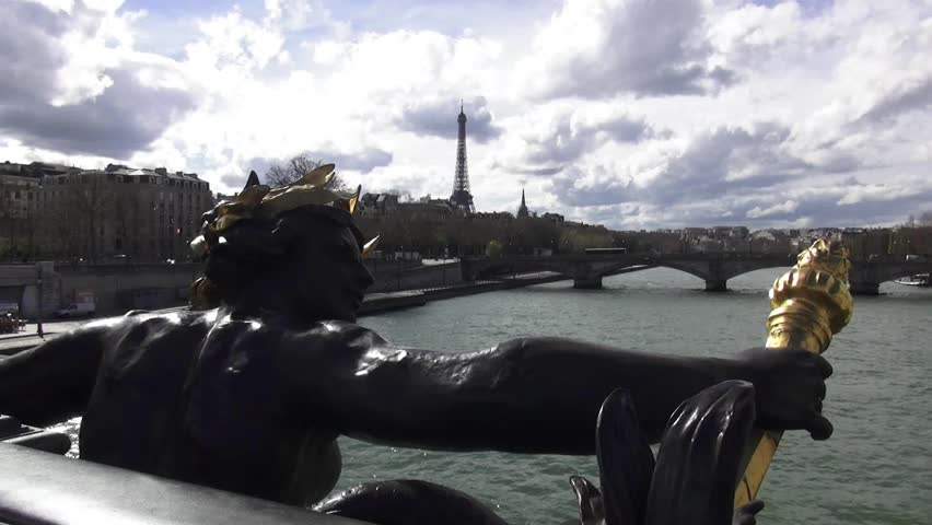 Statue on Pont Alexandre in Paris with Eiffel Tower in background - HD stock video clip