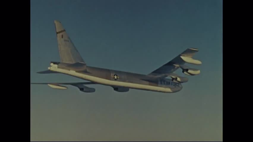 CIRCA 1960s - Actor Jimmy Stewart teaches us about various Air Force bombers and missile systems, starting with the B-52. - HD stock footage clip