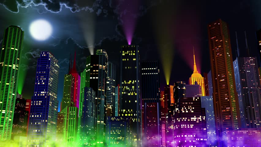 modern city lit by colorful light effects at night cinema