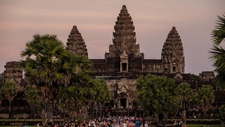 Cambodia - Nov 10: 4K UHD time-lapse of magnificent Prasat Bayon Temple in Angkor Thom, near Siem Reap, Cambodia. November 10, 2015