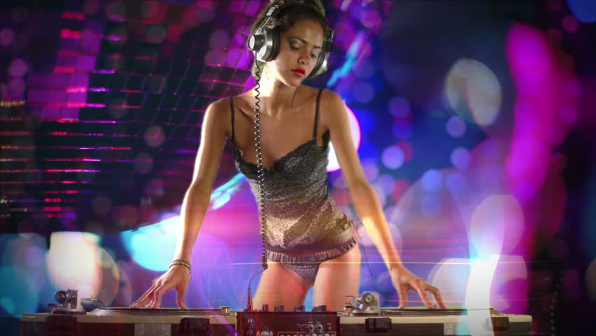 a sexy female dj dancing and playing records with disco style background - HD stock video clip