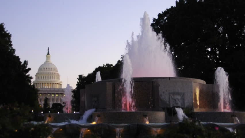 Capitol building and a fountain in Washington D.C. circa 2009 - HD stock video clip