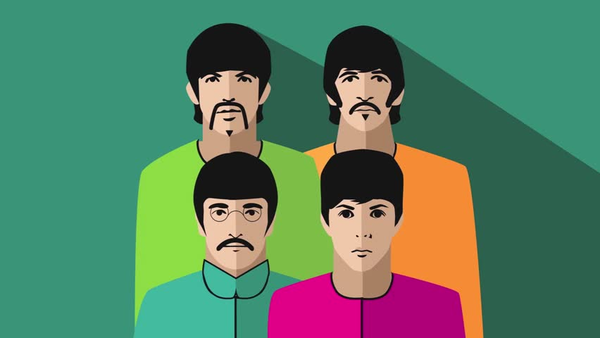 DECEMBER 28 2015:  Illustrative Editorial.Illustrated animation of The Beatles in their psychedelic stage. Camera zooms in to closeup. George Harrison, Ringo Starr, John Lennon and Paul McCartney.