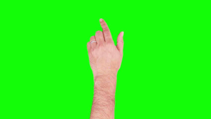 Set of 15 hand touchscreen gestures, showing the uses of computer touchscreen, tablet or trackpad. Married man hand. Tablet. Green Screen.