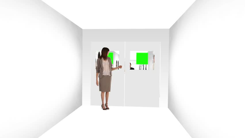 Woman opening the doors of an animated corridors about communications - HD stock video clip