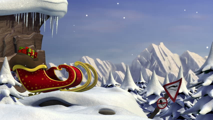 3D Animation : Santa Claus Trying To Take Off