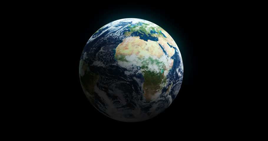 Loopable Spinning Globe Against Black with Copy Space in 4 K. Earth animation of spinning blue globe with copy space against black. Luma matte included. World map courtesy of NASA. - 4K stock video clip