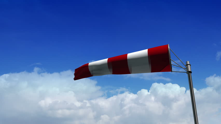 Airport Windsock on Blue Cloudy Background - version: Airport 04 (HD)