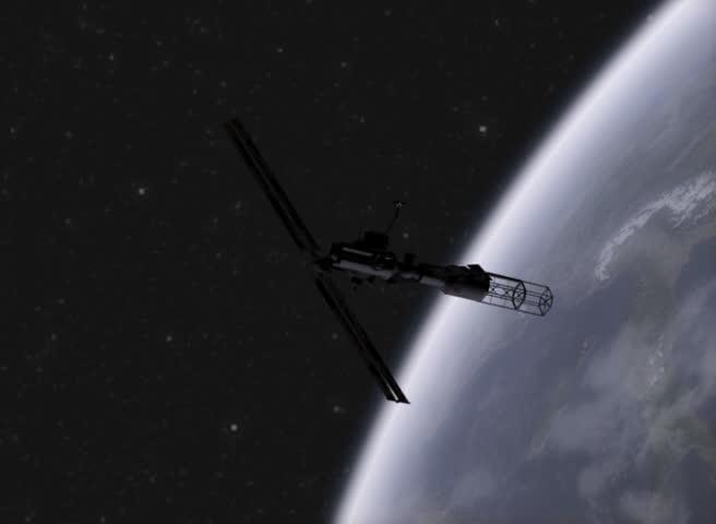 Satellite in Orbit - SD stock footage clip