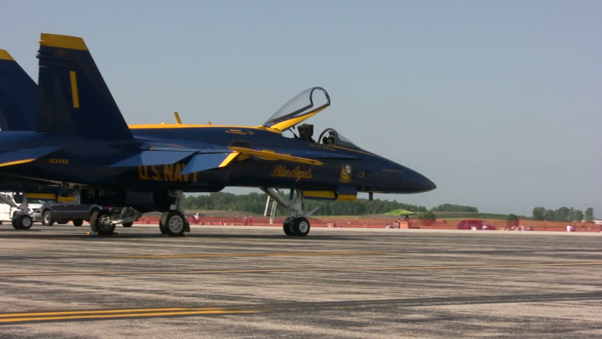 DETROIT, USA - JULY 24: US Navy's Blue Angels prepare for flight demonstrations at the annual Thunder Over Michigan airshow on July 24, 2011 near Detroit, Michigan