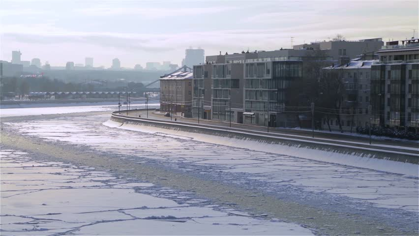 MOSCOW, RUSSIA – January 24, 2016: View of the Moscow-river and its embankment in winter (timelapse)