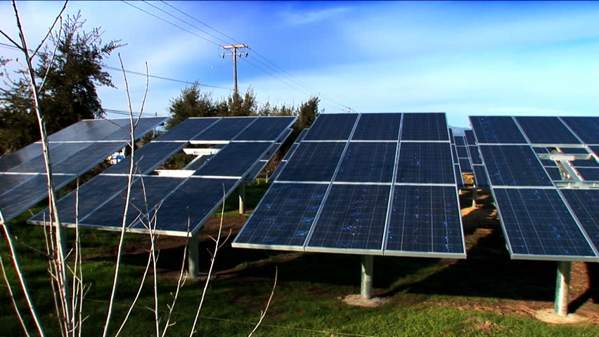 Solar energy panels in the sunshine - HD stock footage clip
