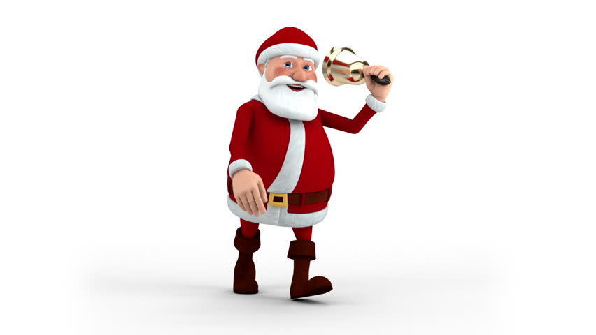 Cartoon Santa Claus walking and ringing christmas bell - front view - high quality 3d animation