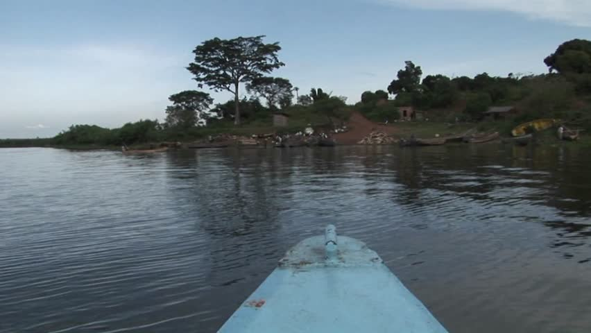 POV of a fishing boat during departure from Ugandan shore in Lake Victoria - HD stock video clip
