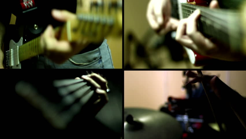 Guitar, Guitar Bass and Drums - Multiscreen - HD stock footage clip