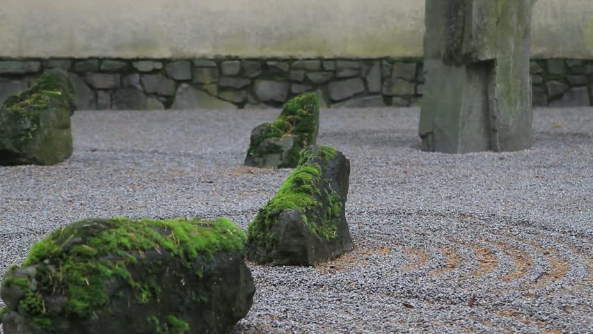 Japanese zen flat sand garden in fall season one foggy for Japanese sand garden
