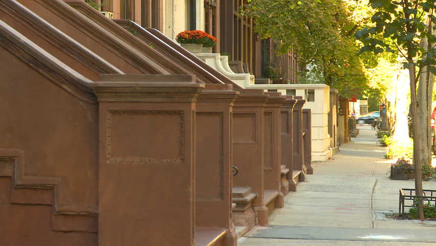 close up town homes Central Park west - HD stock footage clip