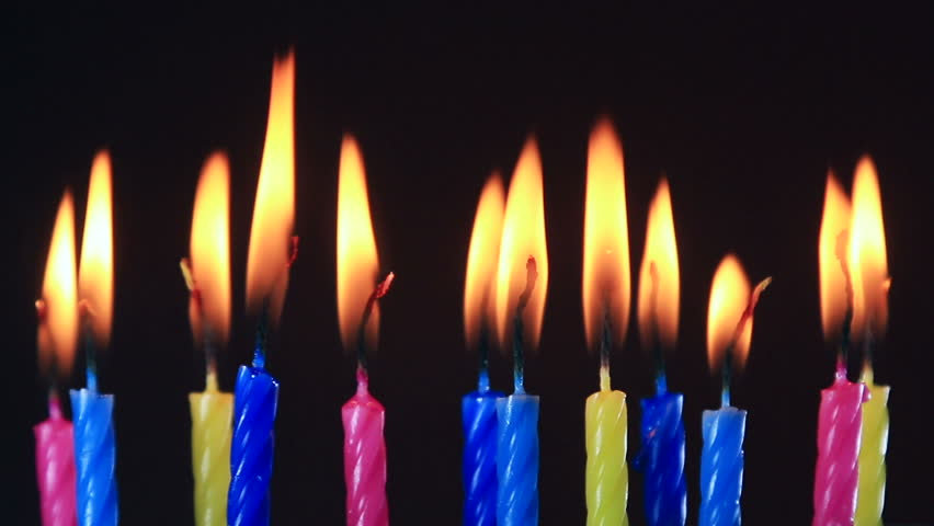 Birthday candles burning. time lipse