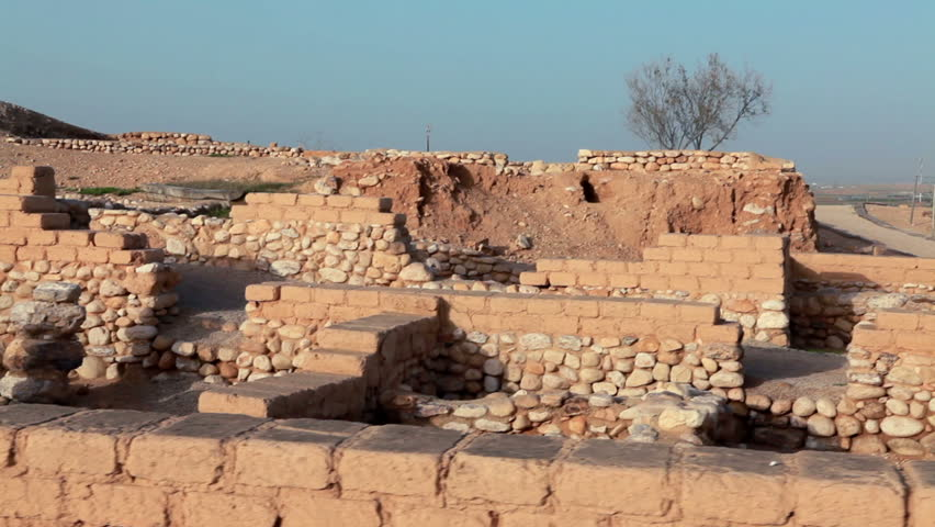 the ruins of the biblical city at Tel Be'er Sheva National Park in Israel. - HD stock video clip