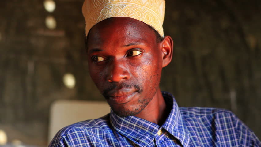 KENYA, AFRICA - CIRCA 2011: Close up of a Muslim man in an African village, 2 hours north of Mombassa in Kenya.
