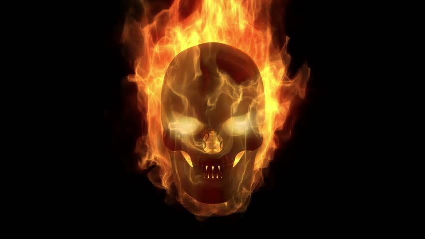 Skull and crossbones blue fire