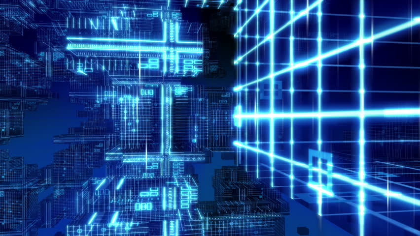 Digital Computer Grid Matrix Technology - HD stock footage clip