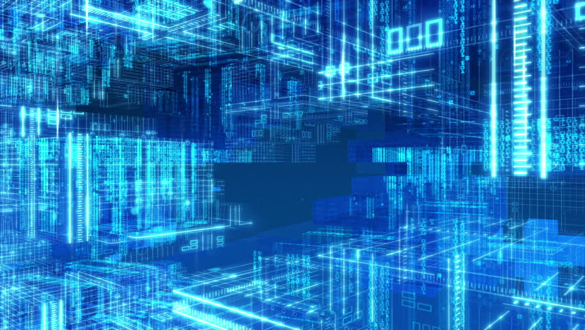 Digital Computer Grid Matrix Technology - HD stock footage clip