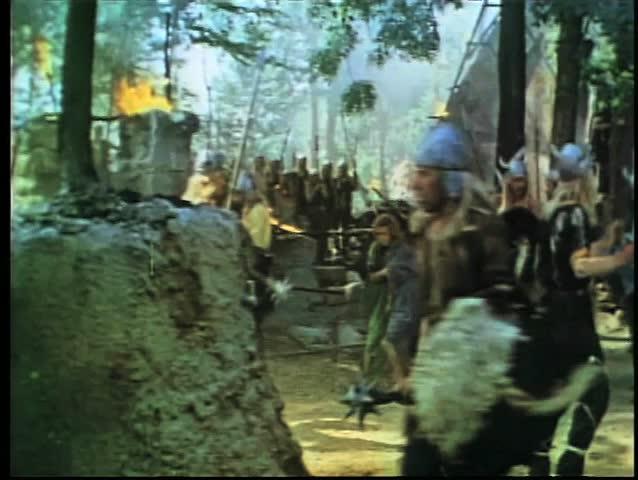 Wide shot Vikings invading village