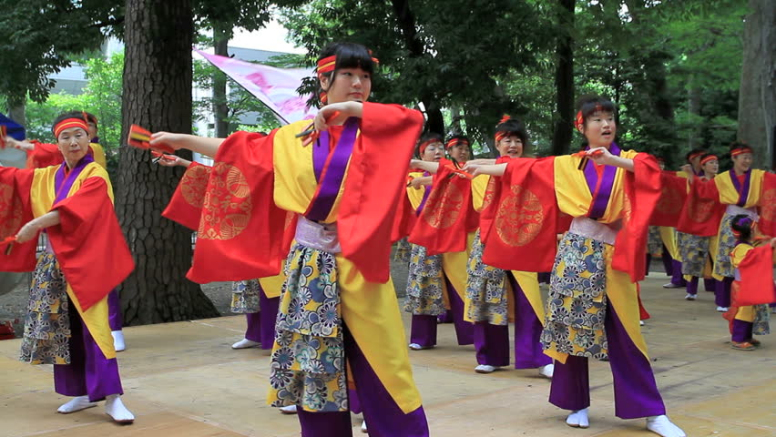 """CHOFU, TOKYO - AUGUST 28: The annual Festival """"Yosakoi Matsuri"""" in Chofu, Tokyo on August 28, 2011. Japanese dancers perform in traditional costumes on stage in Chofu,"""