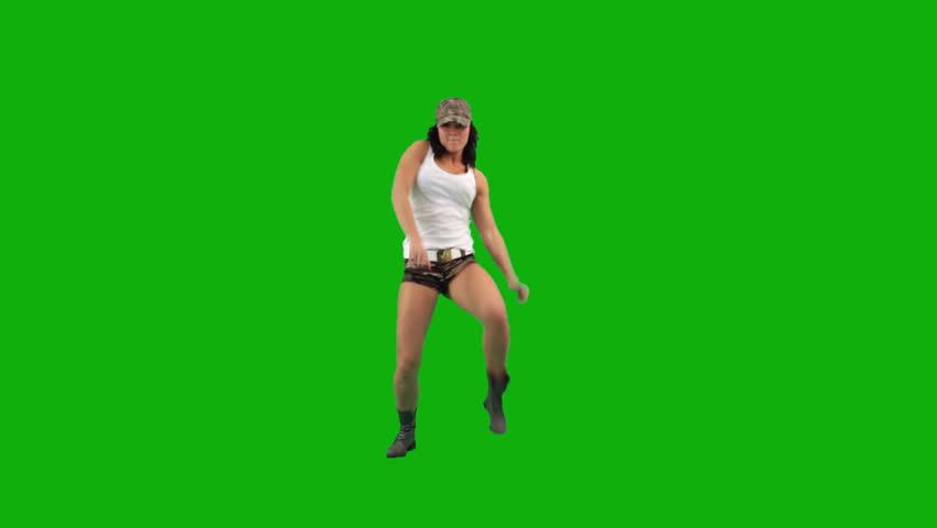 Military girl dancing hip-hop against green screen