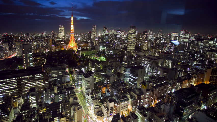 Tokyo Tower and skyline at night, time lapse, Japan