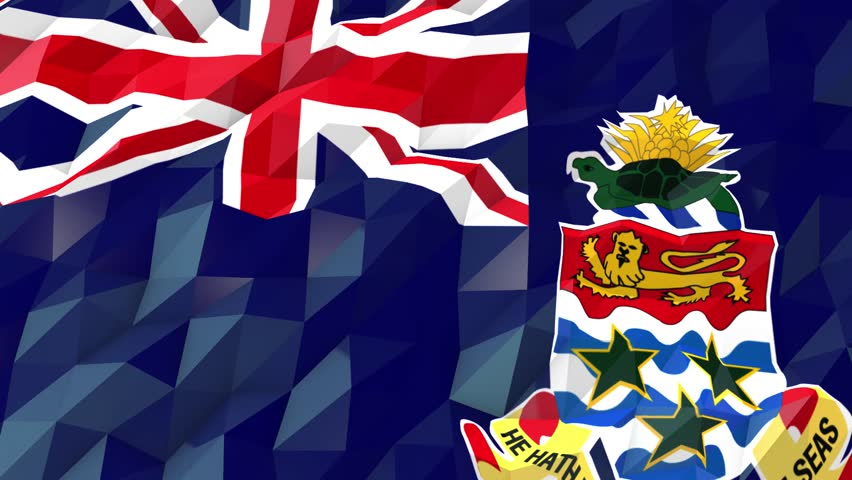 Flag of Cayman Islands 3D Wallpaper Illustration, National Symbol, Low Polygonal Glossy Origami Style