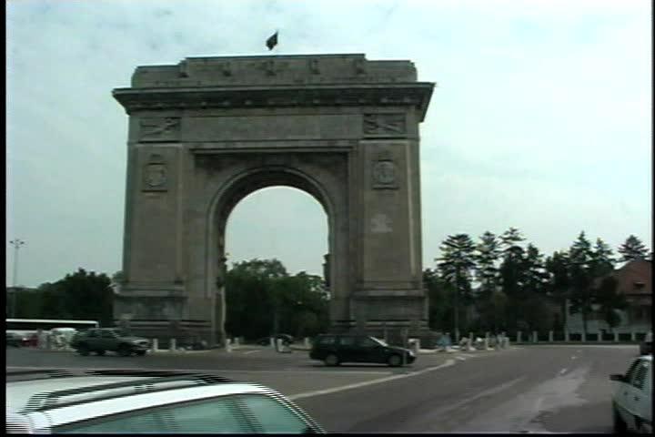 """Arcul de Triumf"" Arc of Triumph in Bucharest Romania - SD stock video clip"