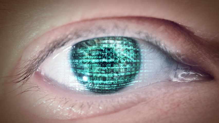 Eye with digital scrolling on iris. Loop.
