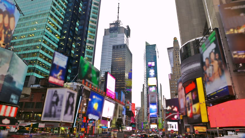 Times Square in New York City time lapse with blurred trademarks - HD stock footage clip