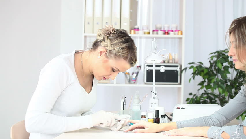 Working with nails in Spa salon - HD stock footage clip