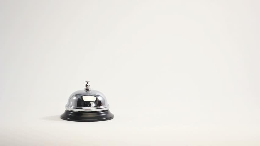 business man ringing reception bell