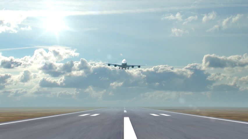 airplane landing against a background of running clouds, 3d animation