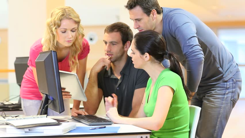 Group of young people working in office - HD stock footage clip