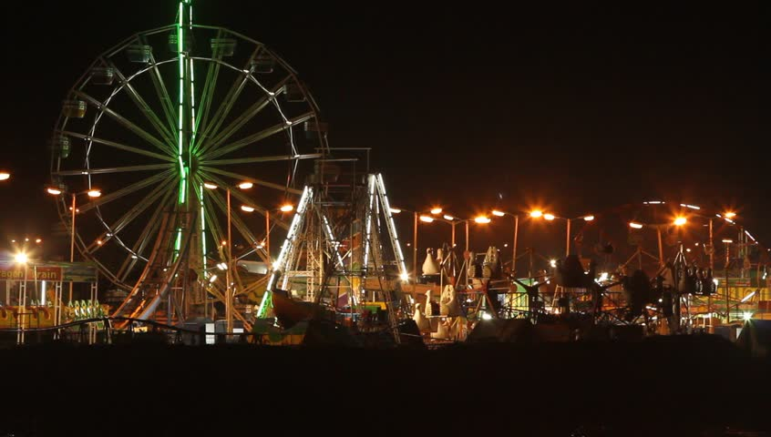 Amusement park at night. - HD stock footage clip