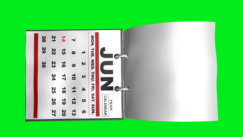 Year Calendar Flipping Pages (HD). Year calendar 3d rendering with flipping pages over a green chrome screen so you can knock out the background and use the object. Speed it up for fast effect.