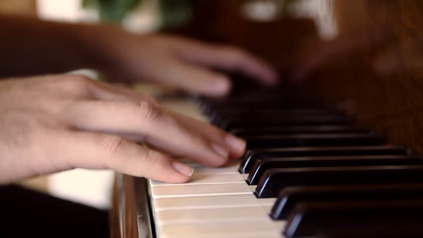 Piano Playing Slow Motion (HD). Male hands playing piano keys in slow motion. Add your own music on top. Shot at 60p and slowed to 24p.