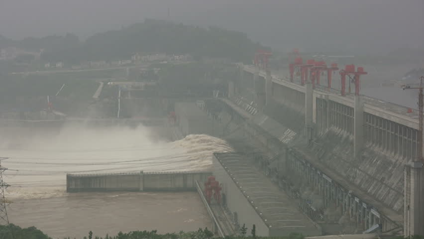 Overview of the Three Gorges Dam, filled in smog and mist