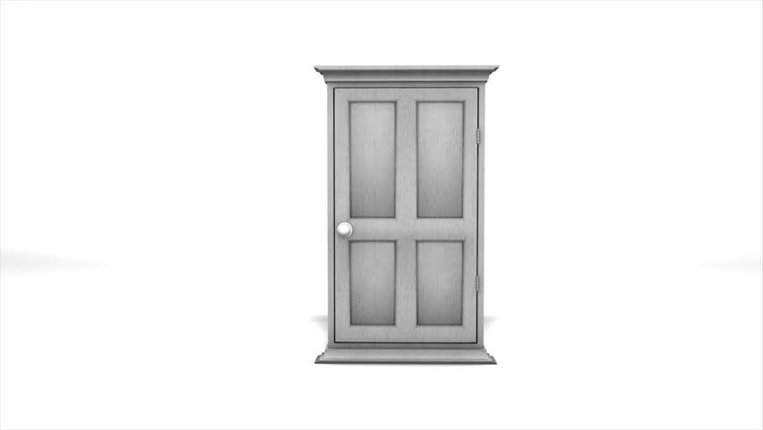 Concept animation multiple door open.  - HD stock footage clip