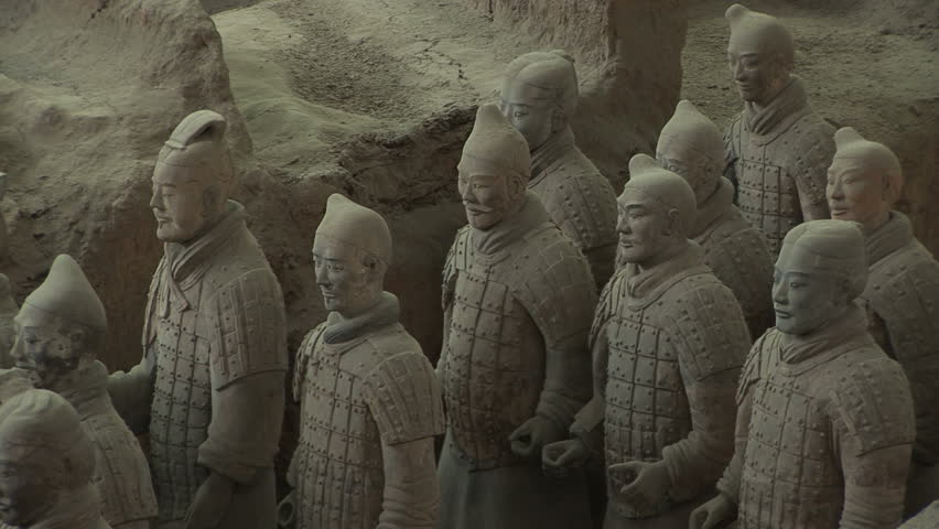 Terracotta Soldiers in Trenches,  Xi'an, Shaanxi Province, China, zoom out. Format: NTSC HDV Compression: MotionJPEG-A Camera: Sony HVR-Z1U Size: 1080i (1920 x 1080) Sound: No - HD stock footage clip